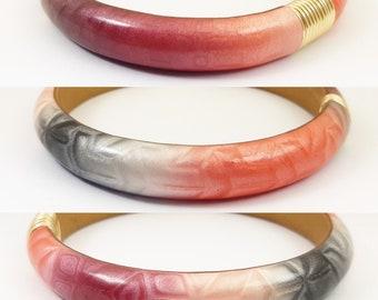 Pink and grey satin chic bracelet