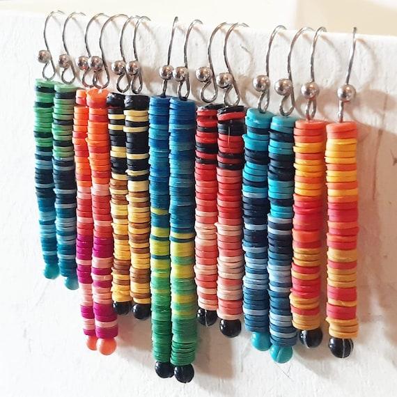 Long, thin, multicolored earrings