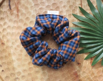Sustainable Scrunchies - Handmade Scrunchie - Cotton Plaid T-shirt Scrunchie - Blue Plaid Scrunchie - Fall plaid Scrunchie - Soft Scrunchie