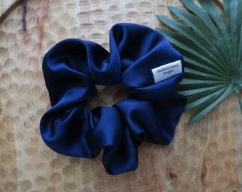 Blue Satin Scrunchie - Satin Scrunchie Gift - Sustainable Scrunchies - Handmade Scrunchie