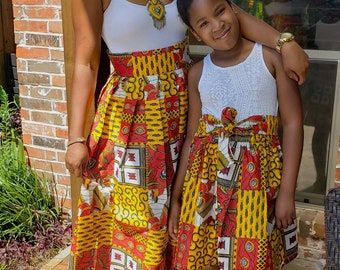 804e7363a African skirt, Mommy and me outfits, Mother and daughter African skirts,  Baby skirts, Mommy and me African skirts, Ankara skirts, Womens