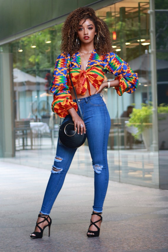 African Print Off Top Cropped African Kente Print Top Women Clothing Ankara Top Tops for Women African Clothing