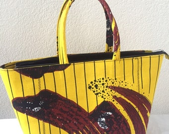 African Tote, Ankara Bag, African Handbag, African Ankara Handbag, African print bag, Ankara fashion, Handmade bag, Yellow bag