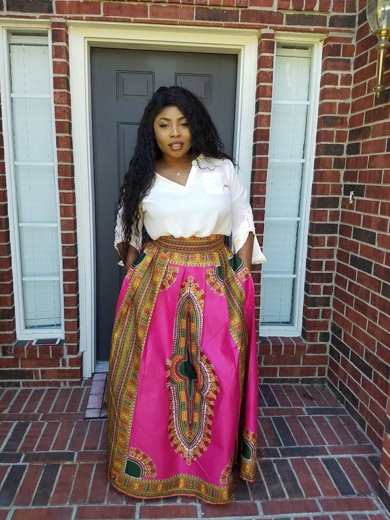 c219195a07 Akai African Print Dashiki Maxi Skirt Pink/Green African | Etsy