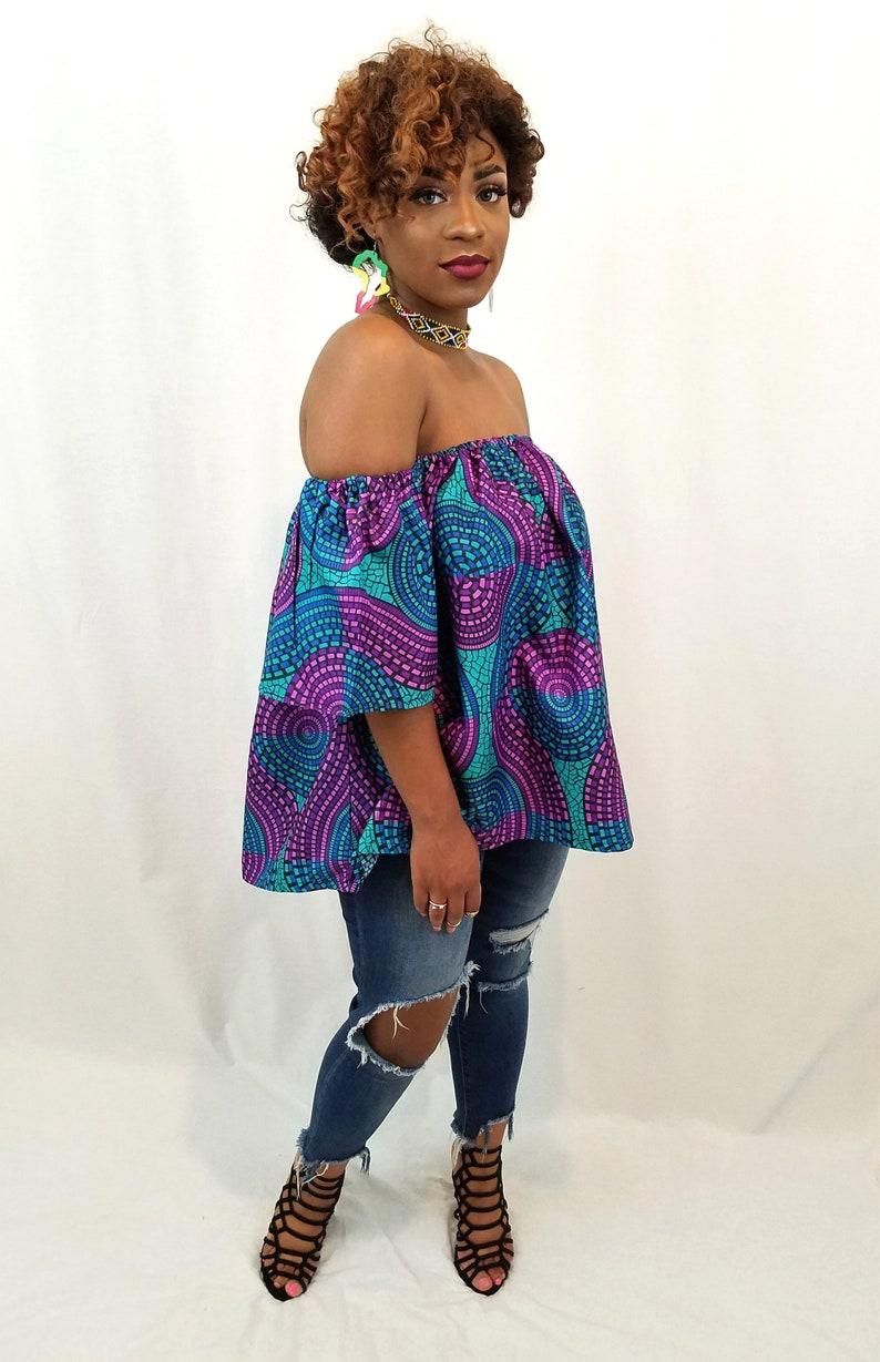 b22e4f1ce2d293 Swirly Ankara off-shoulder top Off-shoulder top African   Etsy