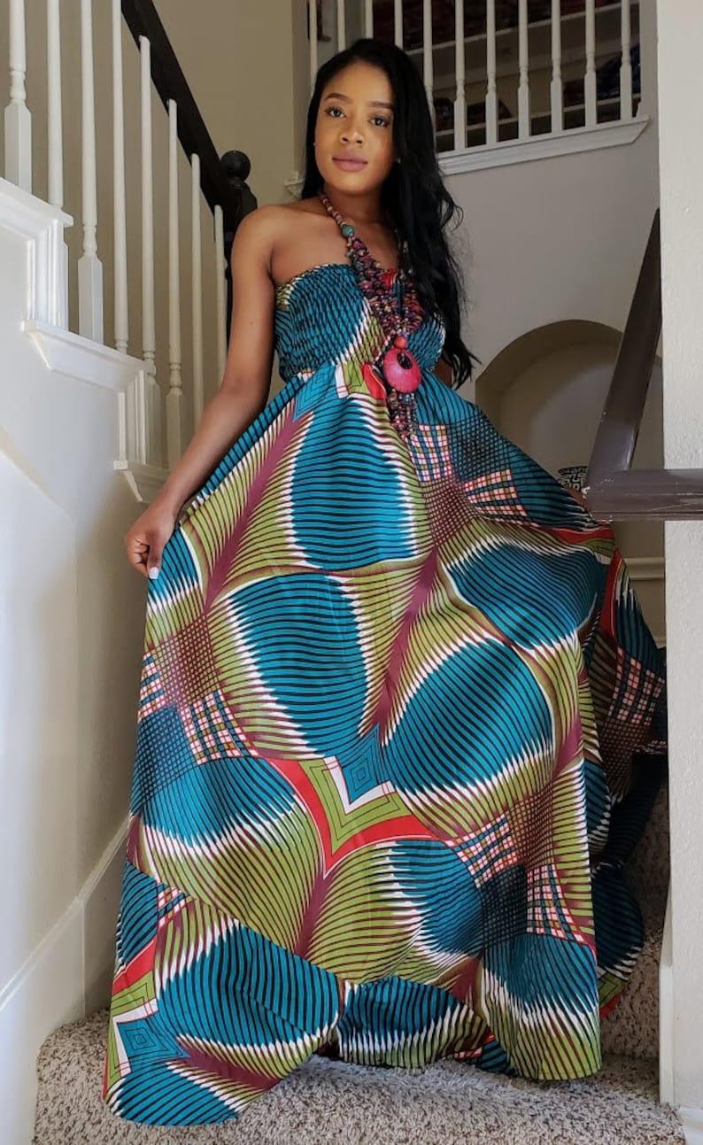 Maxi Jurk Turquoise.Iris Afrikaanse Print Maxi Jurk Turquoise Groen Afrikaanse Etsy