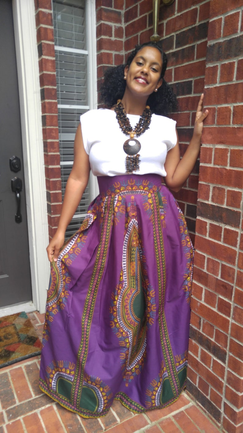 b59475a295 Leila African Print Dashiki Maxi Skirt Purple/Green Dashiki | Etsy
