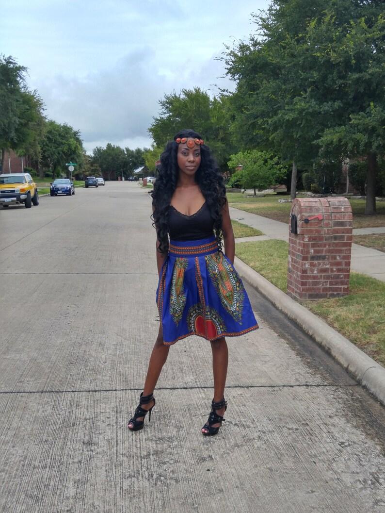 African skirt, Midi skirt, Dashiki skirt, African clothing, Blue skirt,  African print midi skirt, ankara short skirt
