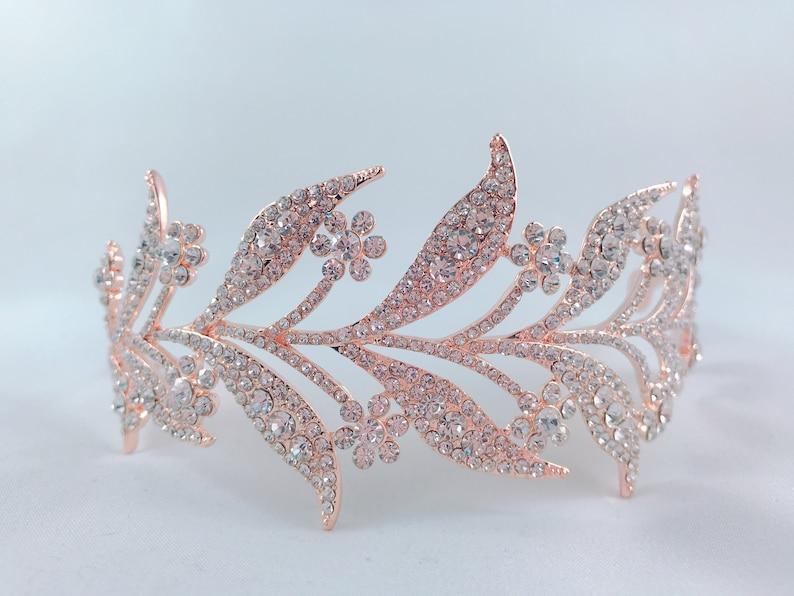 Rose Gold Crystal Leaves Vine Tiara