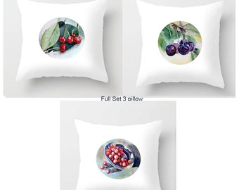 Set 0f 3 Pillow Cherry Watercolor Red Sweet Cusion White Pillow Indoor Outdoor Pillowcase