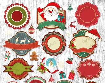 27 Christmas Labels, Christmas frames clipart, Holiday Labels, Merry Christmas Labels, Christmas clipart, retro frames,scrapbooking clipart