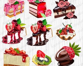 16 Cake Clipart Dessert Clipart Set Food Clipart Set Cake Etsy