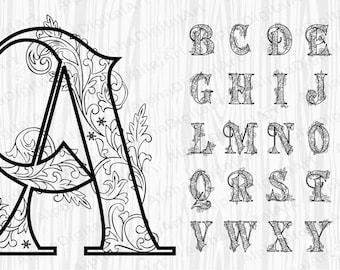 Ornate Letters Etsy