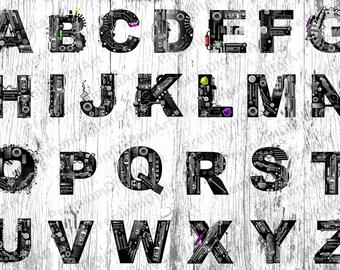 26 Blue Bubble Font Alphabet,Pen drawn font,Colorful letters,Geometric Letters,Hand drawn Alphabet,Digital Font,PNG Alphabet,painted font