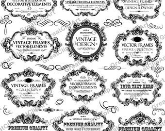 15 Vintage Rahmen Und Ornament Lions Ornament Clipart Etsy