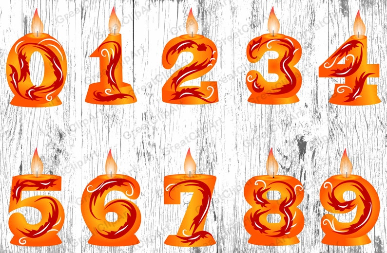 10 Orange Andle Numbes Birthday Candle Numbers Clipart