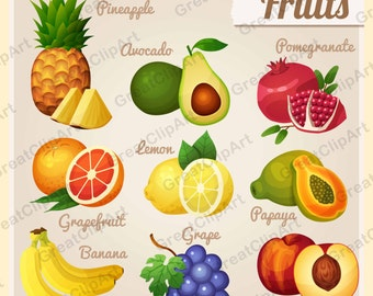 9 fruit clipart set, watermelon clipart, banana clipart, pineapple, pomegranate, kiwi, orange, apple, food clipart set,scrapbooking clipart