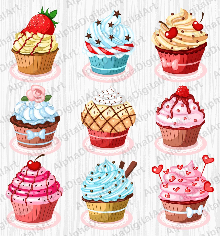 9 Cupcake clipart dessert clipart set food clipart set ...