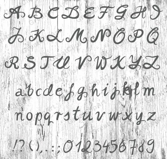 Vaak 70 kalligrafie alfabet getallen Letters geschilderd Hand | Etsy &VC61