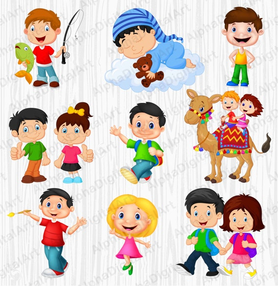 10 Enfants Cartoon Clipart Clipart Enfants Ensemble De Etsy