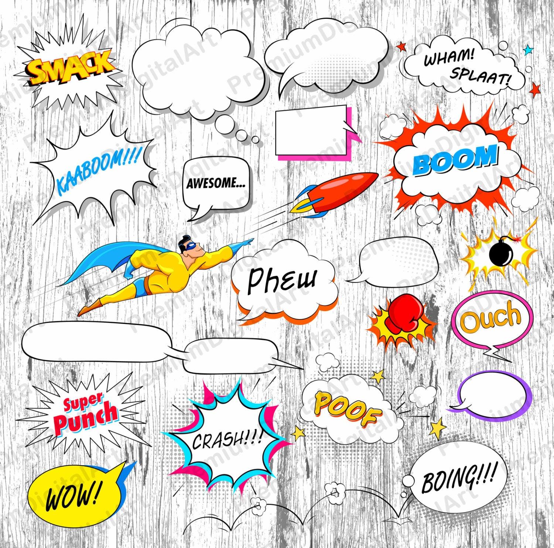 34 Comic-Sprechblasen druckbare Rahmen Clipart Satz von   Etsy