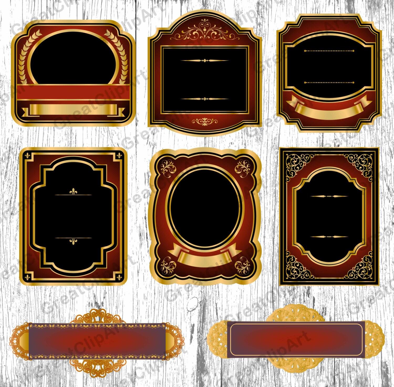 8 marcos Vintage oro, etiquetas de vino para imprimir imágenes ...
