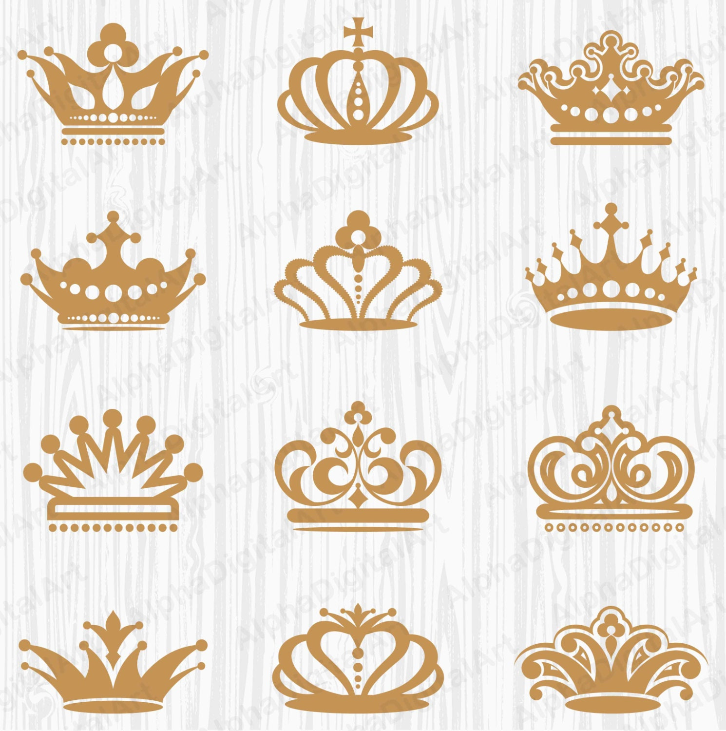 12 Vintage Retro Crown clipart, Ornate floral elements, retro frames ...