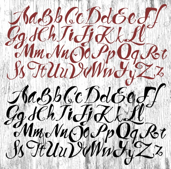 100 Czerwony Czarny Alfabet Kaligrafii Malowane Litery Etsy