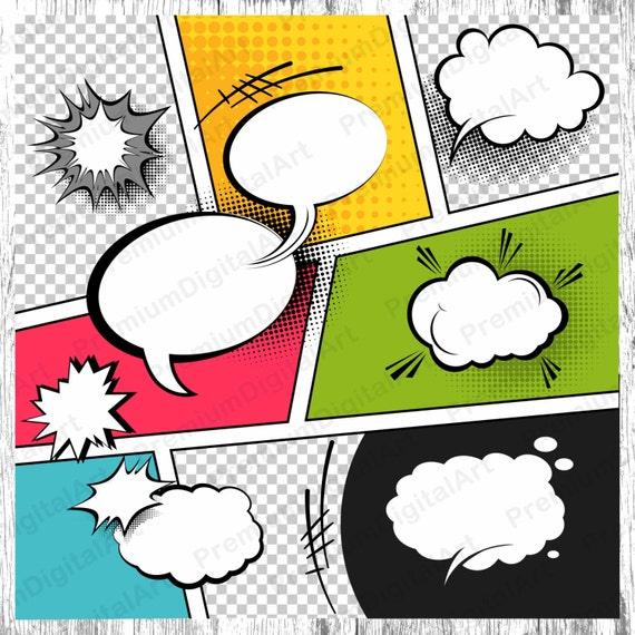 Burbujas de discurso comics 9 marcos para imprimir imágenes | Etsy