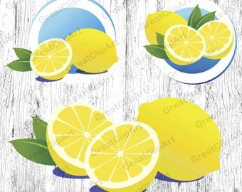 3 Lemon clipart, fruit clipart set, watermelon clipart, digital Lemon, Lemon labels, orange, apple, food clipart set,scrapbooking clipart