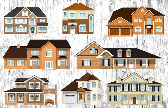 8 Houses Clipart Set House Country