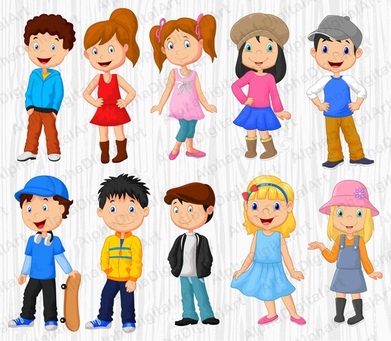 10 Enfants Cartoon Clipart Clipart Enfants Ensemble De Etsy