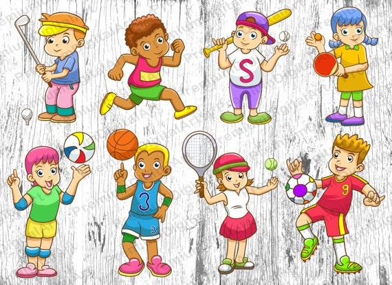 8 cartoon sport kids clipart kids clipart sport etsy rh etsy com Football Clip Art Cowboy Clip Art