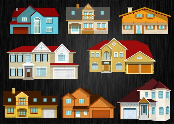 8 Häuser Clipart Set Haus Clipart Land Haus Clipart Villa | Etsy