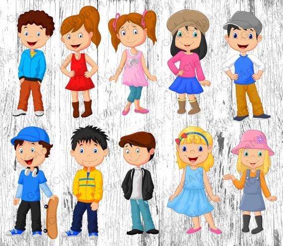 10 gráfico de los niños de dibujos animados clipart de ...