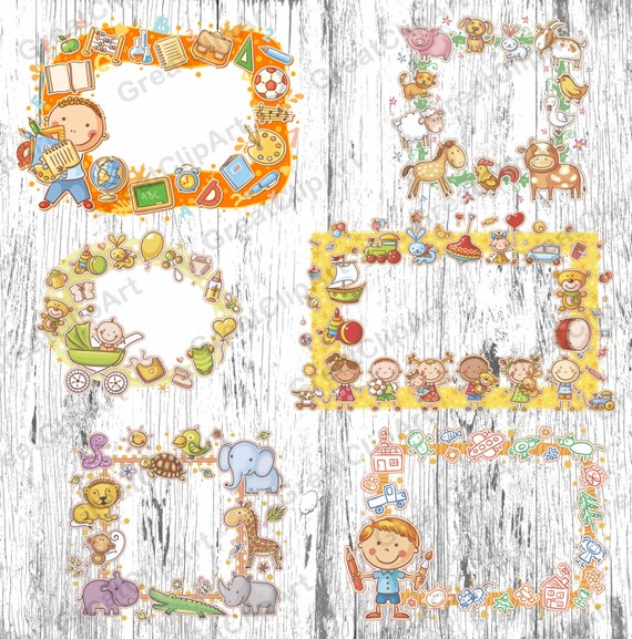 6 Kids frames clip Kids animal Ornament clipart newborn | Etsy