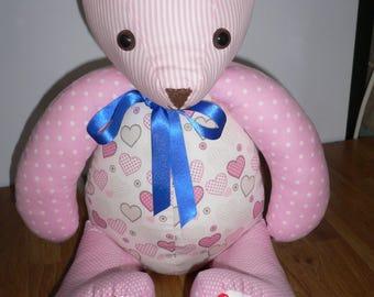 Pink cotton fabric Teddy Bear