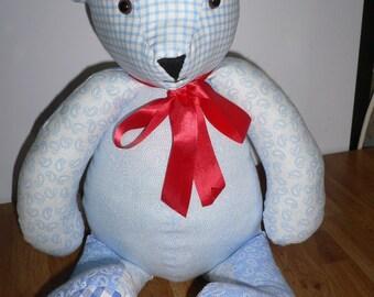 Blue fabric teddy bear