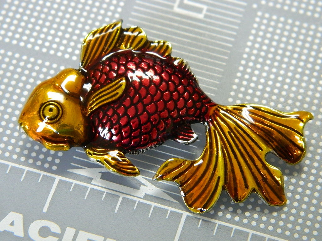 Big Colorful Enamel Painted Koi Pendant - Large Gold & Red Colored ...