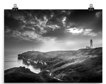 Lighthouse At Night On The Ocean Black And White Photo Paper Print