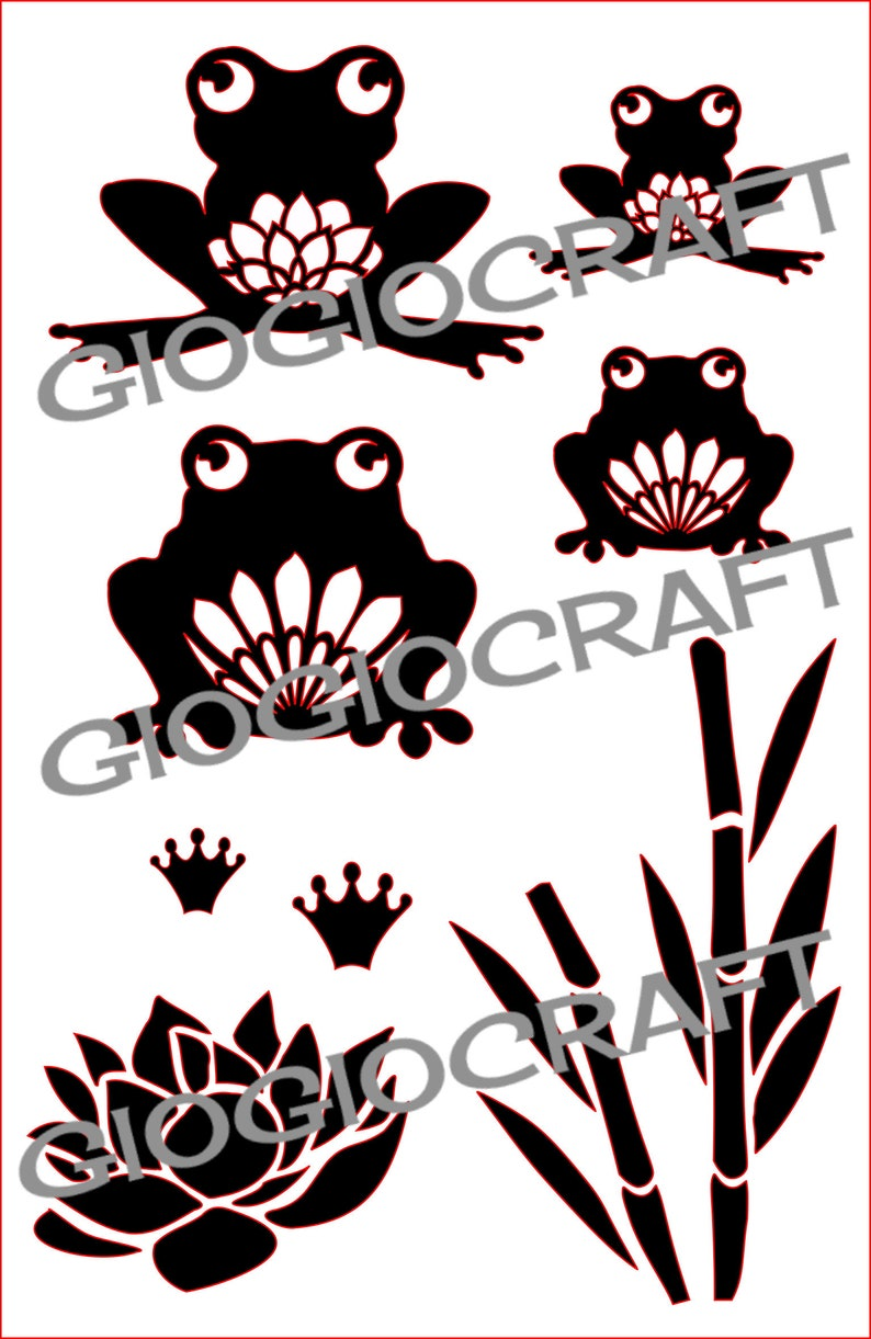 Stencil 'Funny Frogs' Reusable Laser-Cut Mylar  for image 0