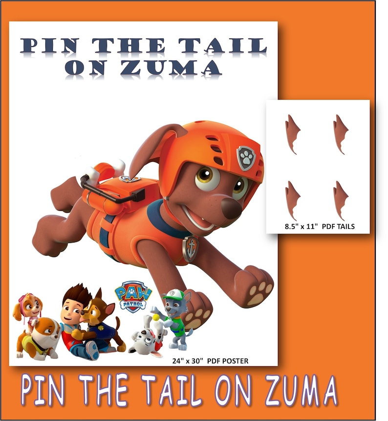 Pin The Tail On Zuma Paw Patrol Birthday Printable Game