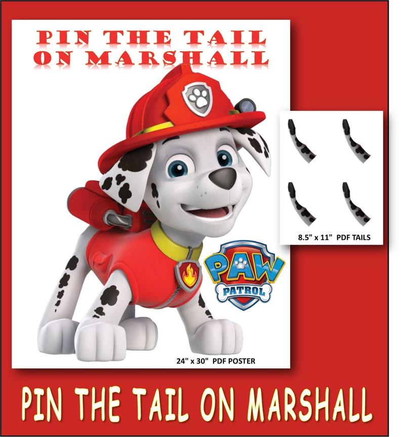 Pin the Tail on Marshall - Paw Patrol Birthday Printable Game