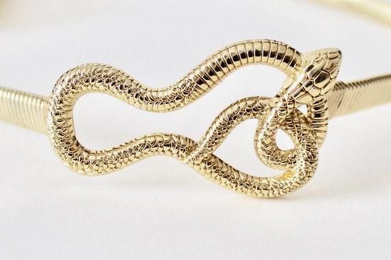 Vintage coiled snake gold tone omega chain stretc… - image 2
