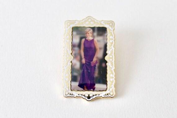 Vintage Princess Diana enamel lapel pin. Princess