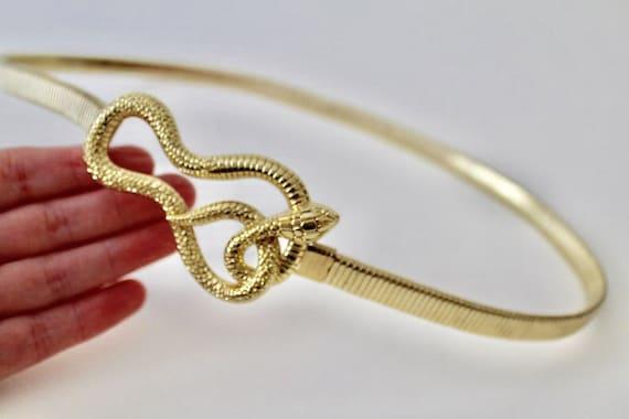 Vintage coiled snake gold tone omega chain stretc… - image 10