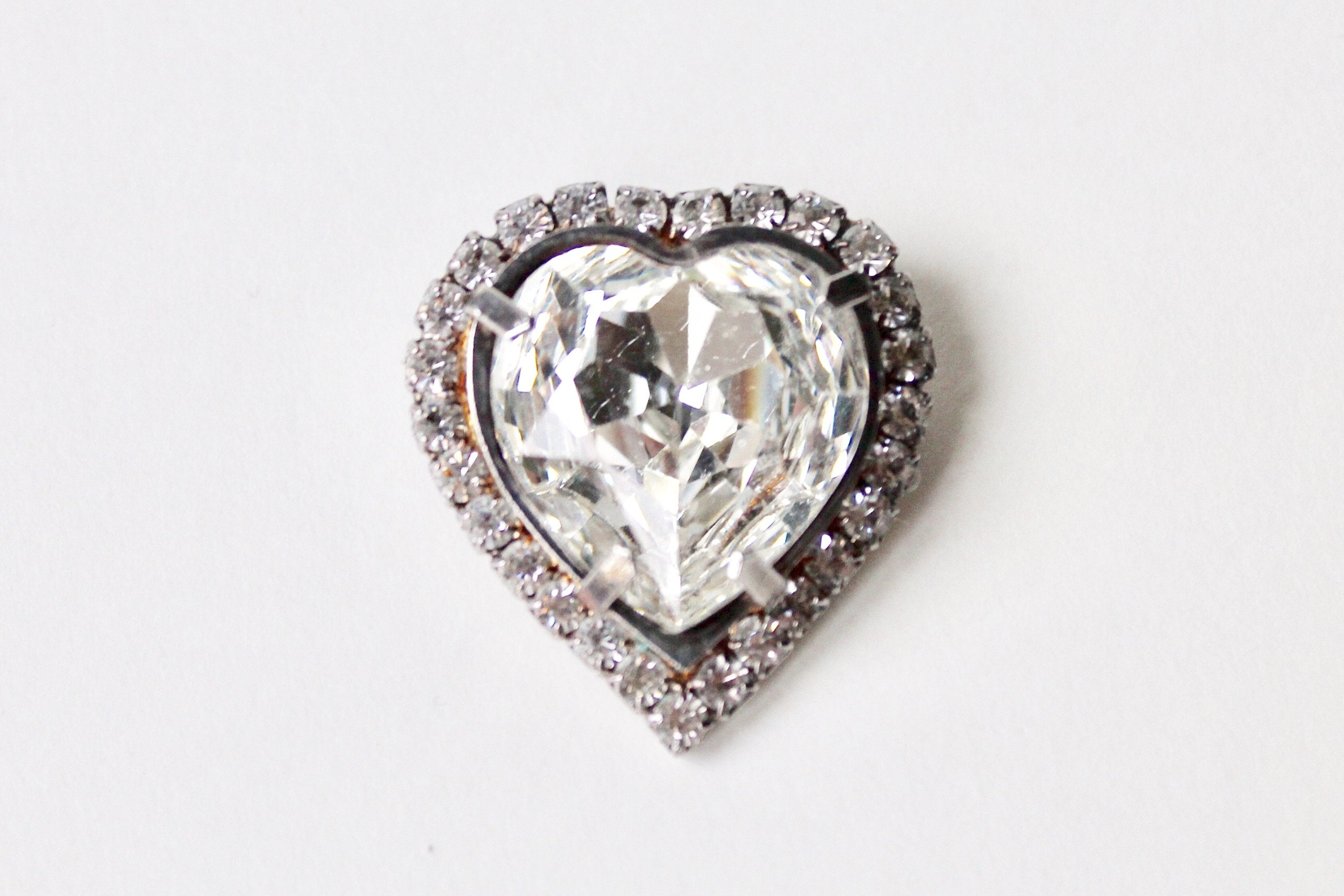 9dfcbab8d89ee Vintage rhinestone heart brooch. Crystal clear heart brooch.   Etsy