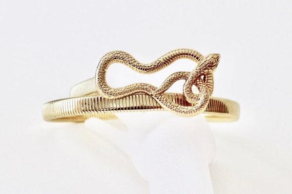 Vintage coiled snake gold tone omega chain stretc… - image 1