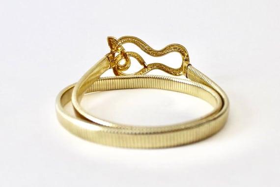 Vintage coiled snake gold tone omega chain stretc… - image 9