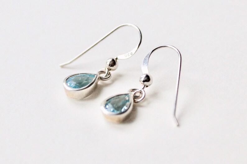 2fc6f0e67 Vintage 925 silver tear drop blue topaz dangle earrings. Blue | Etsy